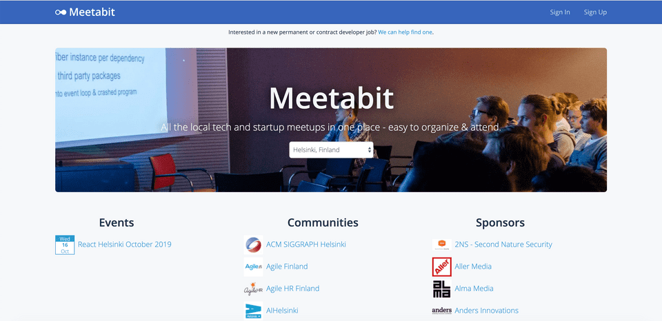 Screenshot of Meetabit's homepage