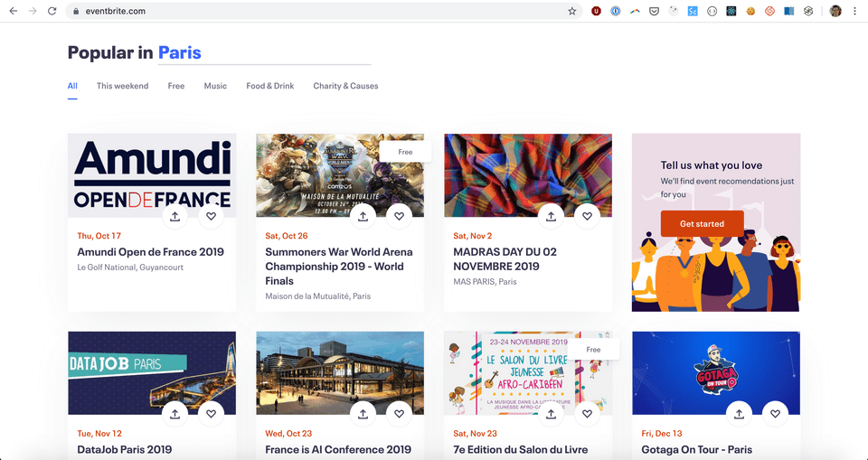Screenshot of Eventbrite's explore page